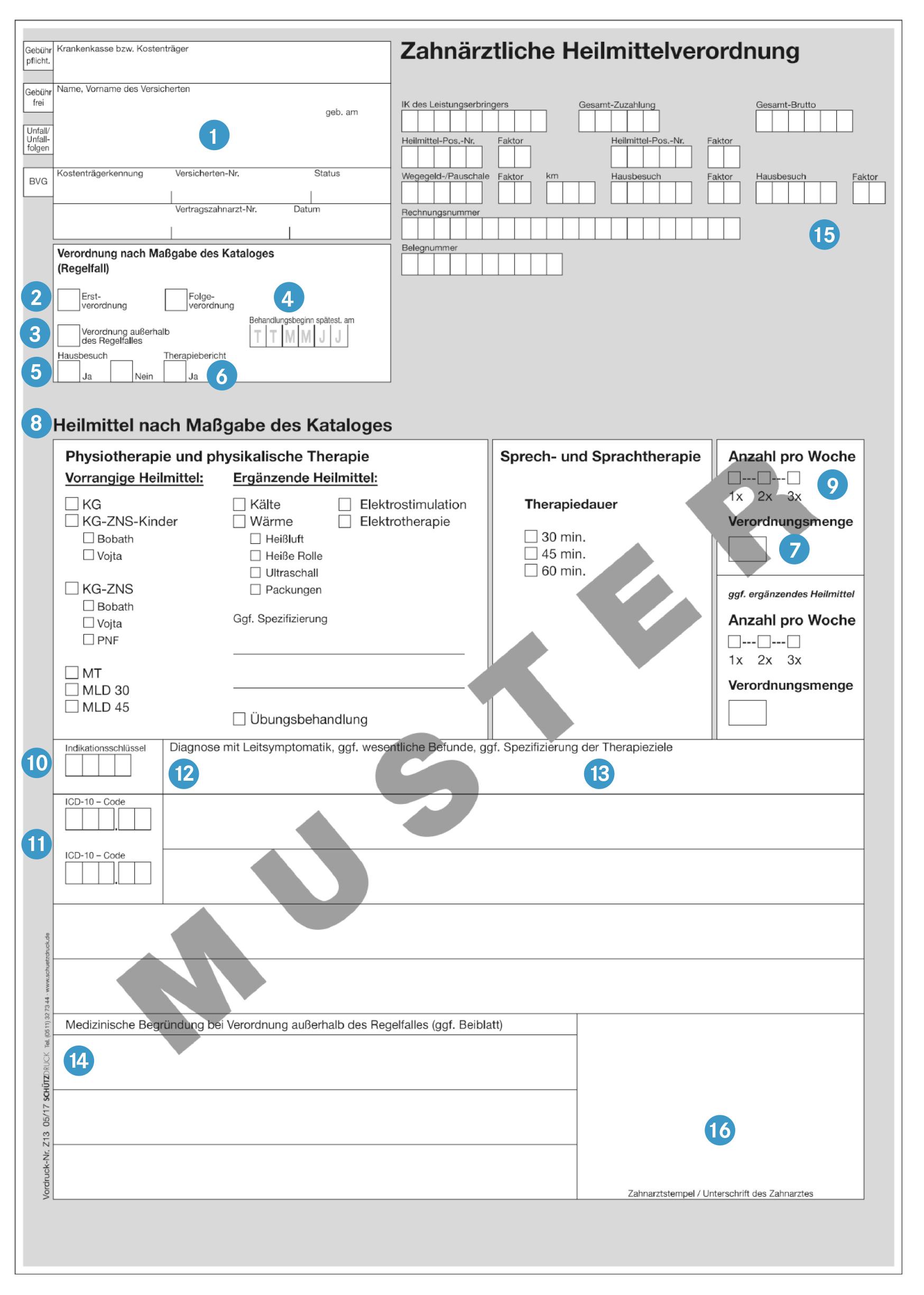 Verordnungsvordruck Z13 Heilmittel Richtlinine Zahnarzte Heilmittelkatalog